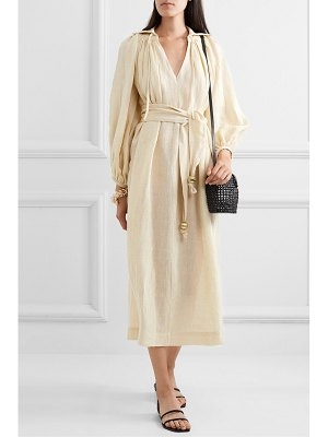 Lisa Marie Fernandez net sustain poet belted metallic linen-blend gauze midi dress