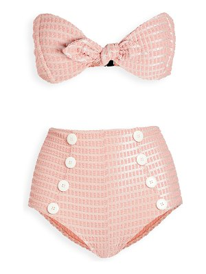 Lisa Marie Fernandez poppy button high waist bikini set