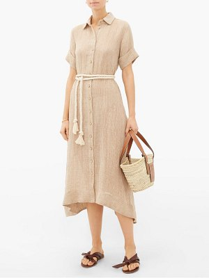 Lisa Marie Fernandez rope-belt organic linen-blend gauze shirt dress