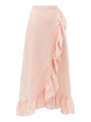 Lisa Marie Fernandez ruffled metallic linen-blend gauze wrap skirt