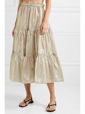 Lisa Marie Fernandez tiered cotton-blend lamé midi skirt