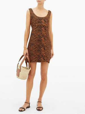 Lisa Marie Fernandez zani tiger-jacquard linen mini dress