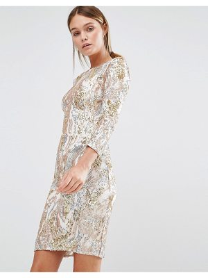 LITTLE MISTRESS 3/4 Sleeve Patterned Sequin Mini Dress