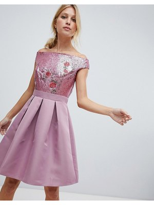 Little Mistress bardot sequin top mini prom dress