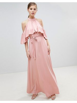 Little Mistress Belted Maxi Dress With Frill Overlay