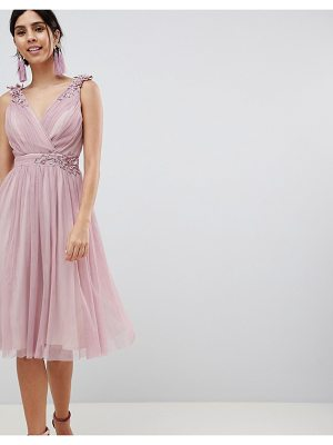 Little Mistress Blush Mesh Wrap Front Midi Dress