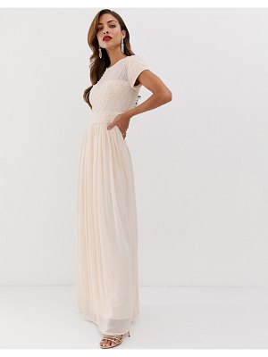 Little Mistress cap sleeve waist detail maxi dress-pink