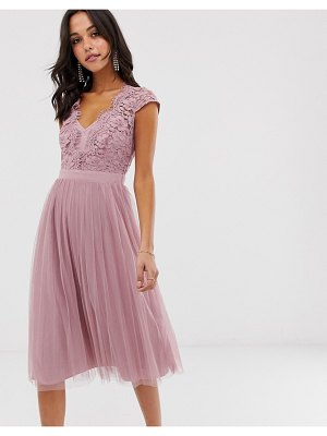 Little Mistress capped sleeve lace midi dress with tulle skirt