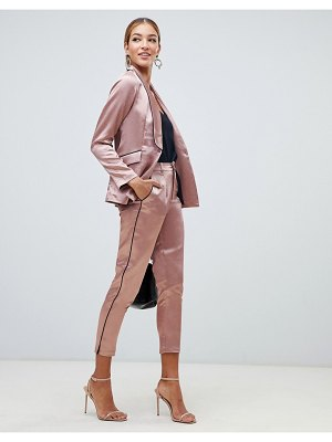 Little Mistress cigarette pants with contrast piping in copper