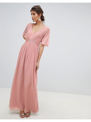 Little Mistress embellished waist and angel sleeve v neck maxi dress