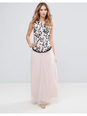 LITTLE MISTRESS Embroidered Maxi Dress With Tulle Skirt