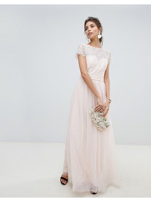 Little Mistress eyelash lace top and mesh skirt maxi dress with detachable belt
