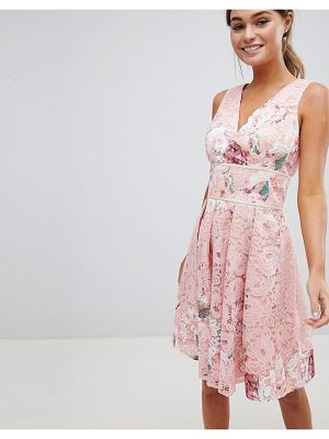 Little Mistress Floral Printed Lace Dress With Wrap Front And Pleated Skirt