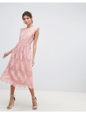 Little Mistress frill edge sleeves and scallop hem with lace rose detail midi prom dress