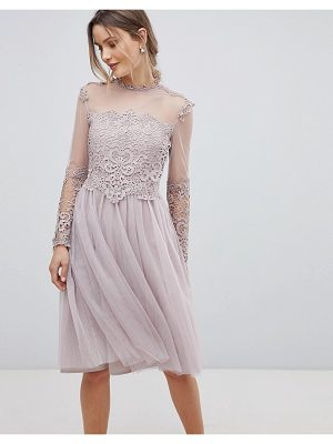 Little Mistress high neck long sleeve skater dress with lace detail