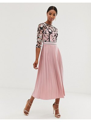 Little Mistress lace embroidered top 3/4 sleeve midi dress with pleated skirt in rose-pink