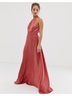 Little Mistress lace insert satin maxi dress in terracotta