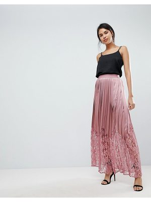 LITTLE MISTRESS Lace Pleated Maxi Skirt