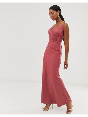 Little Mistress lace top fishtail maxi dress in dark coral