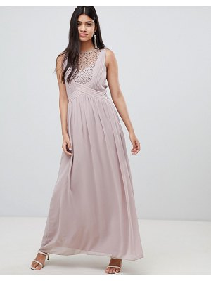 Little Mistress maxi dress with pearl embellishment