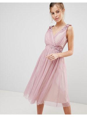 Little Mistress mesh prom dress with floral applique and pearl trim