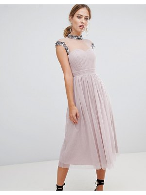 Little Mistress midi prom dress with embellished collar and sleeves