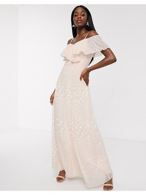 Little Mistress off shoulder maxi dress in blush spot jacquard-pink