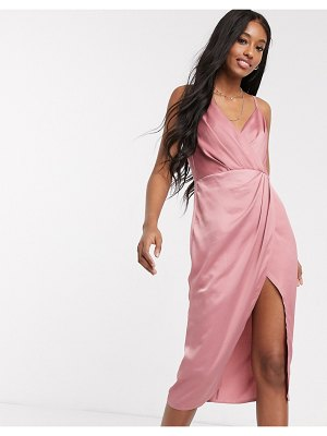 Little Mistress satin wrap dress in pink-beige