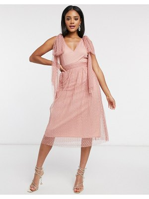 Little Mistress skater midi dress with bow shoulder in cosmetic pink