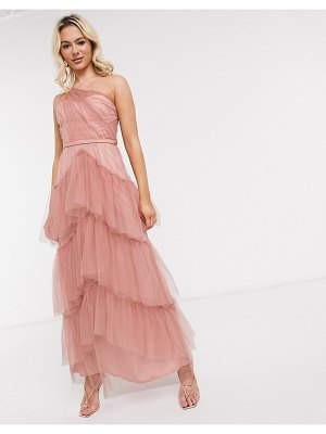 Little Mistress tiered one shoulder maxi in cosmetic pink