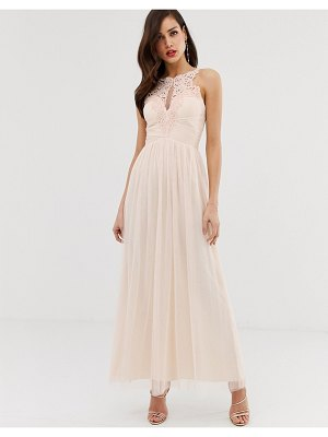 Little Mistress tulle maxi dress with lace detail