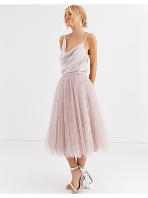 Little Mistress tulle midi prom skirt in mink-brown