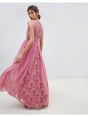 Little Mistress v neck sheer lace back maxi dress