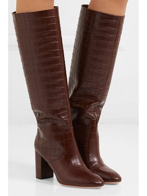 Loeffler Randall goldy croc-effect leather knee boots