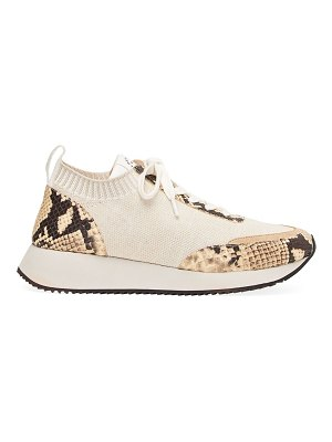 Loeffler Randall remi snake-embossed leather & knit sneakers