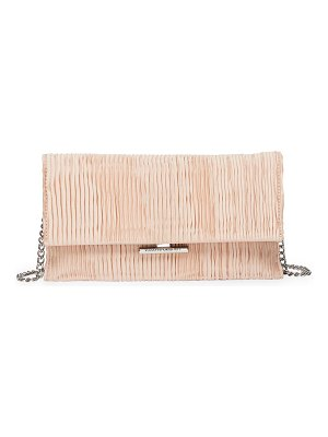 Loeffler Randall tab chain ruched satin clutch