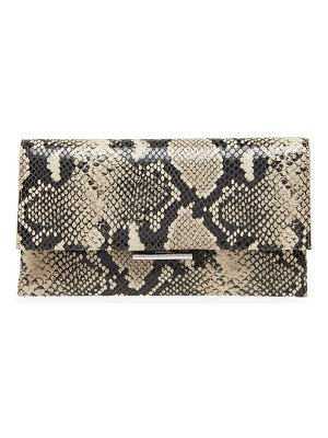 Loeffler Randall tab snakeskin-embossed leather clutch