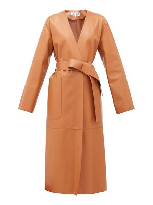 Loewe collarless belted leather coat