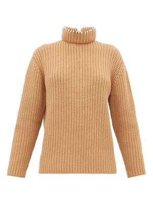 Loewe faux pearl embellished high neck cashmere sweater