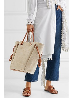 Loewe flamenco medium leather-trimmed embroidered linen tote