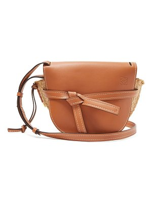 Loewe gate leather and raffia cross-body bag