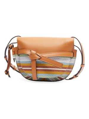 Loewe Gate Striped Snake-Print Leather Shoulder Bag