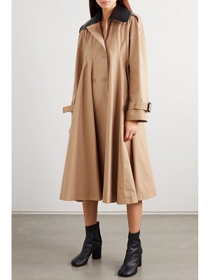 Loewe leather-trimmed pleated cotton-canvas trench coat