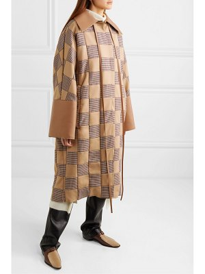 Loewe oversized patchwork houndstooth cotton and leather coat