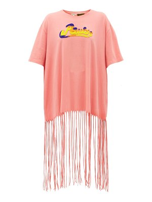 Loewe Paula's Ibiza bead-embroidered logo fringed t-shirt