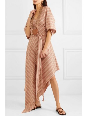 Loewe paula's ibiza belted striped cotton-gauze midi dress