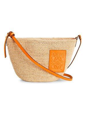Loewe pochette leather-trimmed raffia crossbody bag