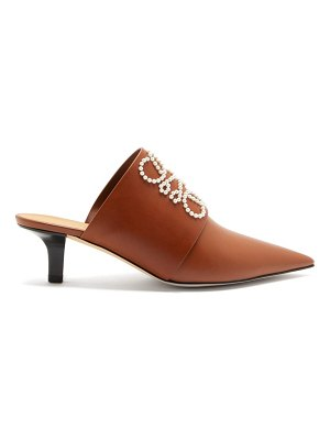 Loewe point-toe pearl-anagram leather mules