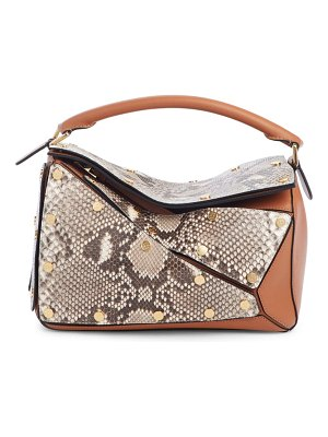 Loewe puzzle genuine python & leather shoulder bag