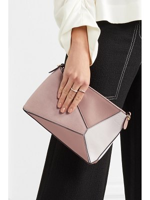 Loewe puzzle mini textured-leather and suede shoulder bag